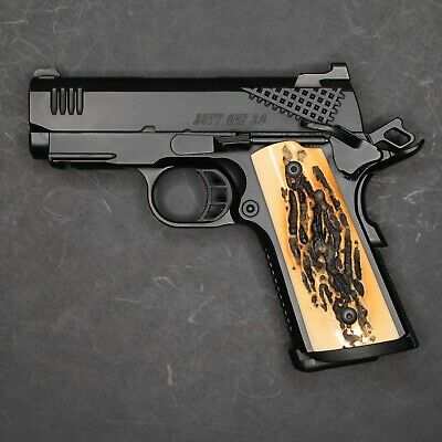 $30 • Buy DURAGRIPS - Colt Compact Officers Polished Gloss 1911 Grips - FAUX STAG, MAGWELL
