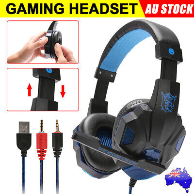 AU20.95 • Buy Gaming Headset Gaming Earphones Headphones With Mic For Mac PS4 Xbox PC Laptop