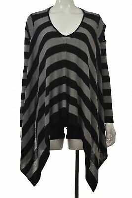 $19.99 • Buy Millau Womens Sweater Size One Size Black Striped Poncho Long Sleeve Top Cotton