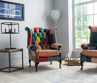 £669 • Buy Boheme Pastel Patchwork Leather Wing Chair Armchair High Back Chesterfield