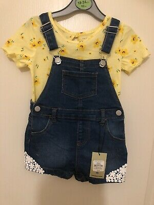 £5.50 • Buy Baby Girls Dungarees Set 18-24 Months Condition New With Tags