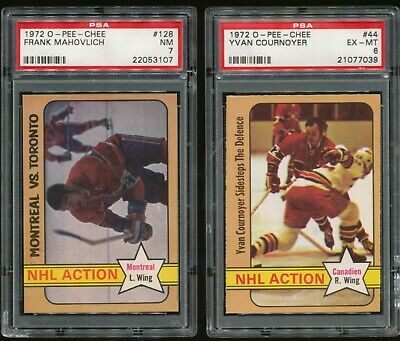 $18 • Buy 1972 O-Pee-Chee #44 Yvan Cournoyer~#128 Frank Mahovlich  PSA 6/7~2 Cards~(PL)