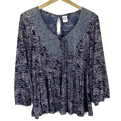 $ CDN20.13 • Buy AKEMI+KIN ANTHROPOLOGIE Blue Lilac Paisley Lace-Up Bell Sleeve Marcella Top M
