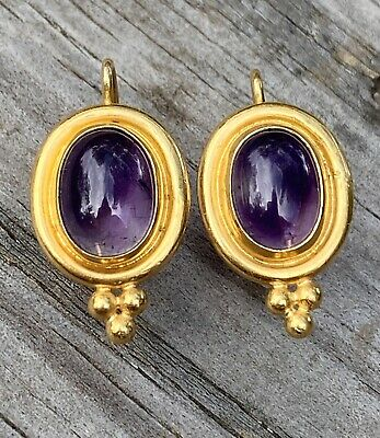 £1139.49 • Buy Vintage Temple St.Clair 22k Gold Oval Amethyst Cabochon Drop Earrings, 8.5g