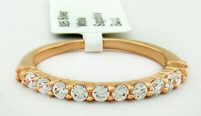 £4 • Buy WHITE SAPPHIRES HALF ETERNITY RING .925 Silver (ROSE) NWT SIZE 8