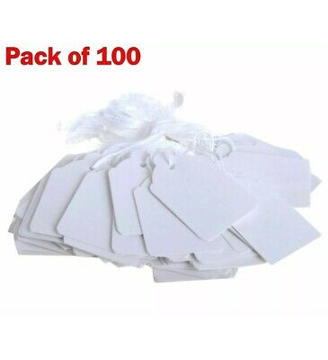 £2.99 • Buy 100 WHITE PRICE TAGS String TIE ON Price Label 43 X 30mm JEWELLERY Gift Shop