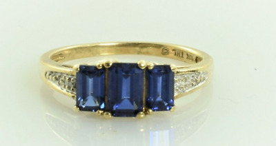 AU257.58 • Buy Sapphire And Diamond Ring In 10k Yellow Gold 1.53 Carats Size 6.75