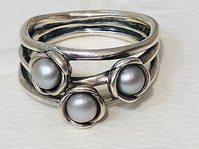 AU149 • Buy Authentic Pandora Silver Three Wishes Grey Pearl Ring Sz 60 190606 Retired Rare