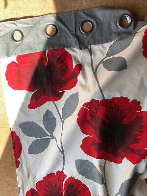 £25 • Buy Next Red And Grey Poppy Flower Eyelet Curtains 168 X229