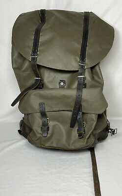 £43.15 • Buy Vintage Swiss Army Military Leather Rubber Rucksack Backpack