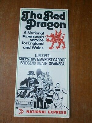£1.50 • Buy National Express Timetable Leaflet-Red Dragon Swansea-London 1976/77