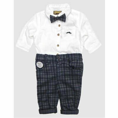 £17.95 • Buy Baby Boys Little Gent Formal Outfit Bodysuit Shirt Check Bow Tie Black Grey