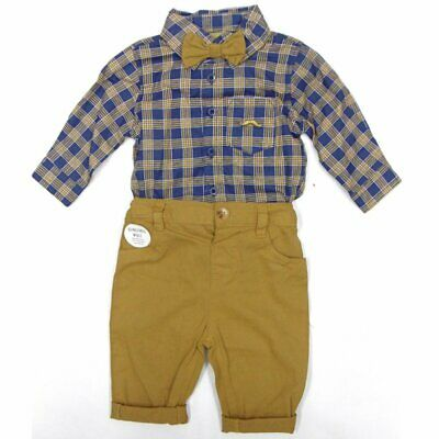 £17.95 • Buy Baby Boys Little Gent Formal Outfit Check Bodysuit Shirt Bow Tie & Trousers