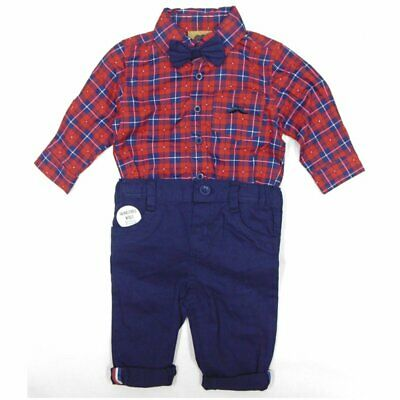 £17.95 • Buy Baby Boys Little Gent Formal Outfit Check Bodysuit Shirt Bow Tie & Trousers Red