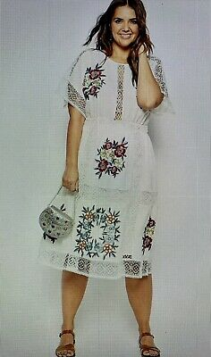 AU50 • Buy ASOS CURVE Midi Dress With Patch Floral Embroidery And Crochet Lace Size 20