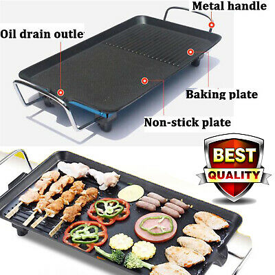 £26.65 • Buy Large XL Electric Table Top Grill Griddle BBQ Hot Plate Camping Cooking Cast Pan