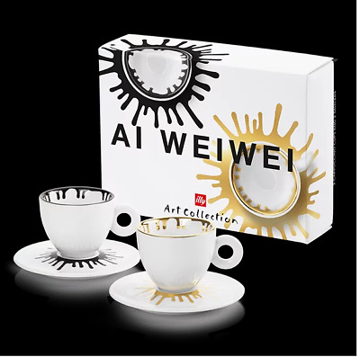 £92.30 • Buy Illy Art Collection Ai WeiWei 2 Cappuccino Coffee Cups Set Signed Limited E.