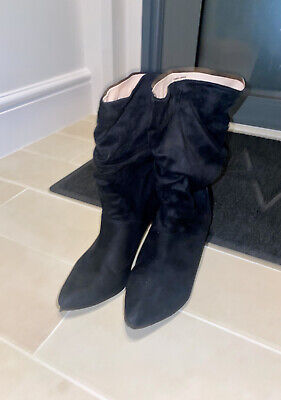 £10 • Buy London Rebel Black Rouched Low Height Suede Stiletto Ankle Boots - Size 7