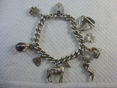 £29.99 • Buy Vintage Silver Charm Bracelet Heart Clasp With 8 Charms, Horse, Yacht, 56 Grams