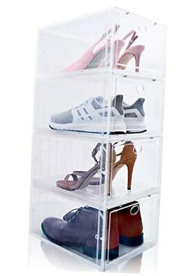 $82.27 • Buy Drop Front Shoe Box, Set Of 4, Stackable, For Men And Women - Plastic Clear