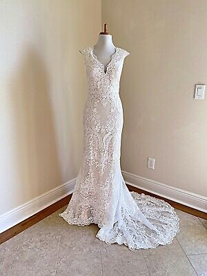 AU407.57 • Buy Plus Size Boho White Crochet Lace Wedding Gown With Short Cap Sleeves And Train