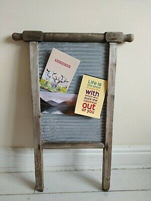 £32 • Buy Wooden Galvanised Washboard Metal Antique Clothes Washer Old Original Rustic Con