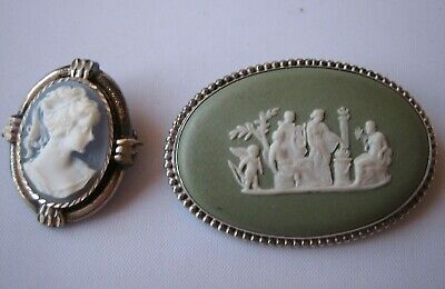 £9 • Buy Green Wedgwood Camoe Brooch + One Blue Brooch Also Thought To Be Wedgwood