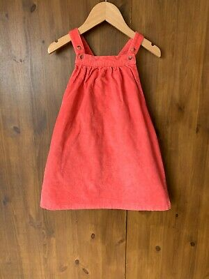 £7.50 • Buy M&S PINAFORE DRESS Pink Coral Cord Corduroy 2-3 Years - VGC