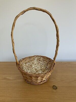 £13.99 • Buy Wicker Basket With Long Handle & Straw - Easter Hamper, Eggs, Gifts