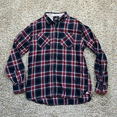 $19.99 • Buy Vans Shirt Mens Size XL Flannel Long Sleeve Button Up Red Plaid Flap Pockets