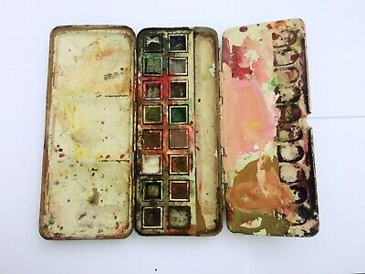 £20 • Buy Vintage Reeves Black Metal Artists Field Watercolour Paint Box, Fold Out Palette