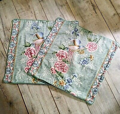 £14 • Buy Pair Mid Century Vintage Cushion Covers Peony Oriental Chinoiserie 20 X 20 Inch