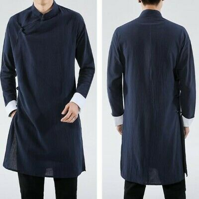 $39.99 • Buy Mens Cotton Linen Chinese Retro Solid Loose Long Gown Jackets Hanfu Tang Suit Sz