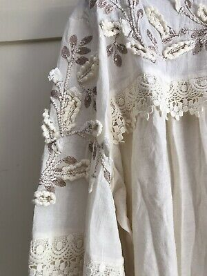 $ CDN38.08 • Buy NEW!! Anthropologie Embroidered Cream Peasant Blouse Top Size XL 16 18 BNWT