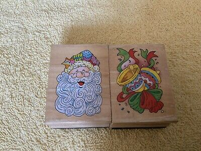 £1.20 • Buy Craft Clearout 2 Wooden Block Christmas Rubber Stamps