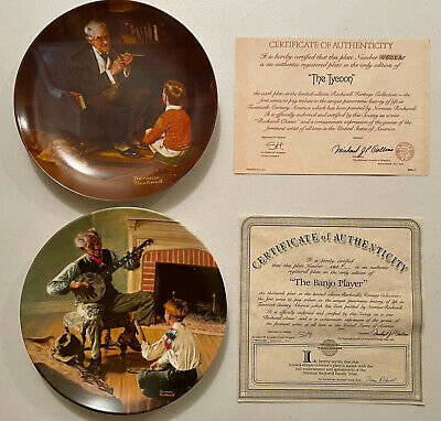 $ CDN3.46 • Buy Norman Rockwell The Tycoon & The Banjo Player Collector Plates VG+++++