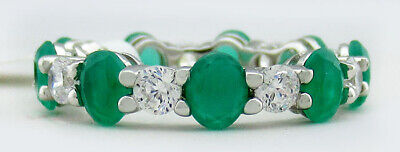 £0.72 • Buy EMERALDs & WHITE SAPPHIRES ETERNITY RING .925 SILVER * New With Tag * Size 6