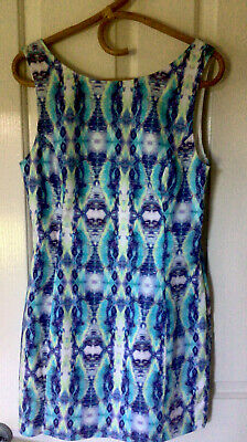 AU8 • Buy Forever DRESS Coloured Zip DeeP V  Back Great Fabric & Print Lined Size 12