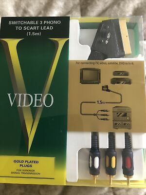 £3 • Buy 1.5M Scart To 3x Phono RCA AV Cable IN OUT Switchable Triple Lead Switch