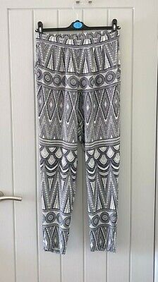 £3.99 • Buy H&M Size 8 10 36 White & Blue Patterned Casual Trousers