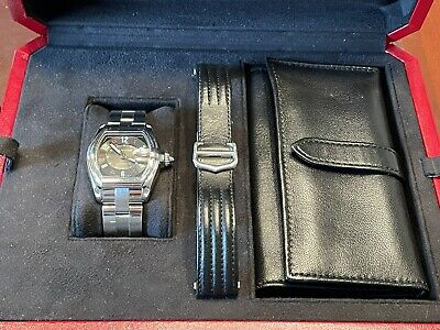 $2222 • Buy Cartier Roadster Watch - Steel And Leather Bracelet - Box/papers W62002V3