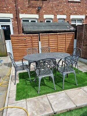 £200 • Buy Vintage Style Aluminium Cast Metal Garden Furniture Outdoor Table And 6 Chairs