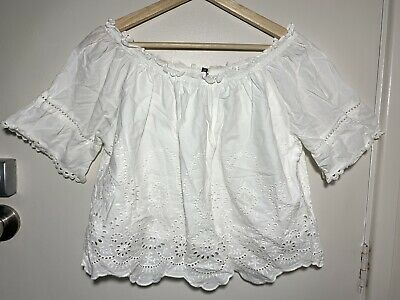 AU20 • Buy FOREVER NEW White Broderie Boho Top Size 12 #21518 (Off Shoulder)