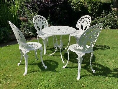 £225 • Buy Cast Metal Garden Table And Four Chairs In White