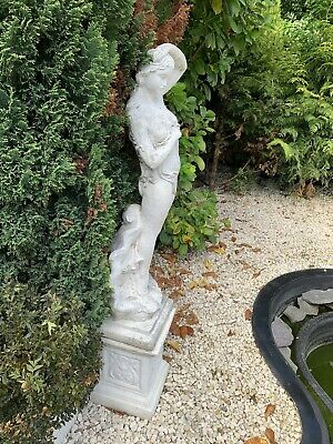 £99 • Buy Woman Garden Statue On Plinth Painted White