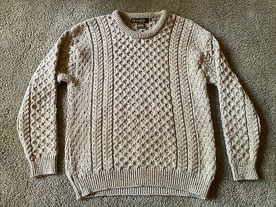 $48 • Buy Inis Crafts Aran Fisherman Sweater Mens XL Oatmeal Cable Knit Wool Ireland Made