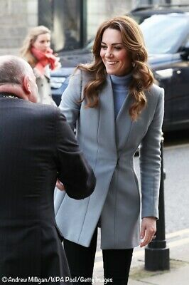 £225 • Buy Reiss 'Delaney' Grey / Blue Seam Detail Fit And Flare Coat, Size XS UK8 Kate