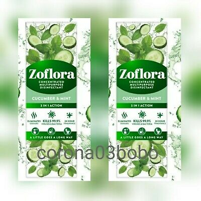 £9.98 • Buy ZofloraCucumber & Mint Concentrated Multipurpose Disinfectant 250ml NEW X2