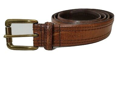 $16.50 • Buy Fossil Men's Belt Brown Leather Size 40 Gold Buckle