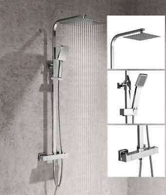 £59.99 • Buy Thermostatic Mixer Shower Set Square Bathroom Shower Bar Twin Head Exposed Valve